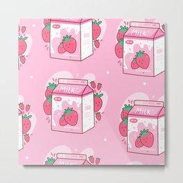 Kawaii Strawberry Milk Shake Carton Metal Print