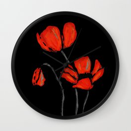 Red Poppies On Black by Sharon Cummings Wall Clock