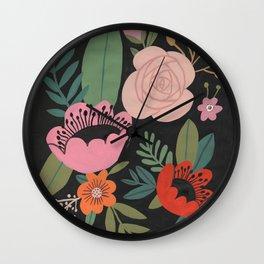Floral Guache Wall Clock