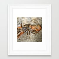 lobster Framed Art Prints featuring Lobster by Buster Fidez