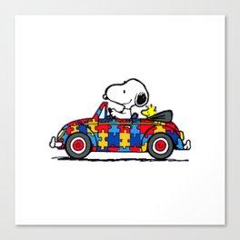 Snoopy drives a car Canvas Print