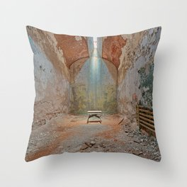 Abandoned Prison Cell Throw Pillow