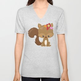 Cute Squirrel, Squirrel With Flowers, Fluffy Tail Unisex V-Neck