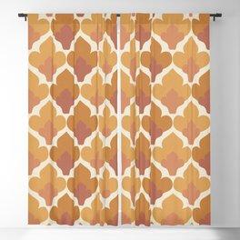 Orange Flower Pattern Blackout Curtain
