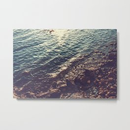 green and yellow colored water in the last sunlight Metal Print