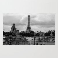 eiffel tower Area & Throw Rugs featuring Eiffel Tower by Ann Yoo