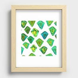 Green gemstone pattern. Recessed Framed Print