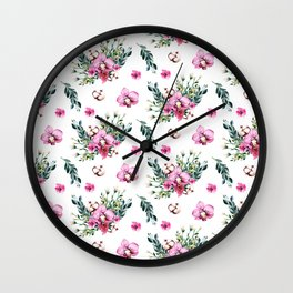 Modern fuchsia green watercolor country floral Wall Clock