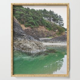 Oregon Coast Tide Pool Green Glowing Forest Coastal Cliff Rocky Landscape Beach Northwest Volcano Serving Tray