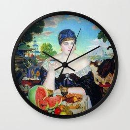 MERCHANT'S WIFE AT TEA - BORIS KUSTODIEV Wall Clock