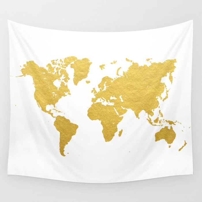 Gold World Map Wall Tapestry