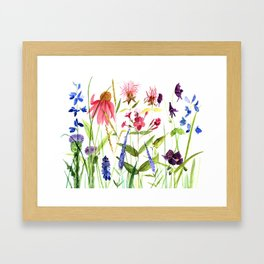 Botanical Colorful Flower Wildflower Watercolor Illustration Framed Art Print