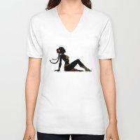 leia V-neck T-shirts featuring Slave Leia Mudflap by castlepöp