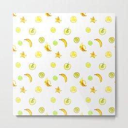 Summer yellow neon green orange fruity pattern Metal Print