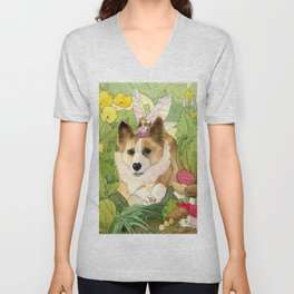 The Faerie and the Welsh Corgi Unisex V-Neck