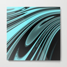 Floating Aqua Metal Print
