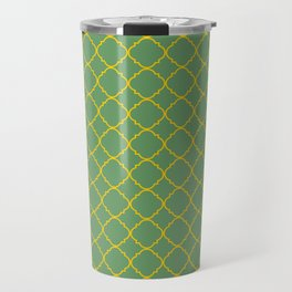 Green and Yellow Barbed Quatrefoil Pattern Travel Mug