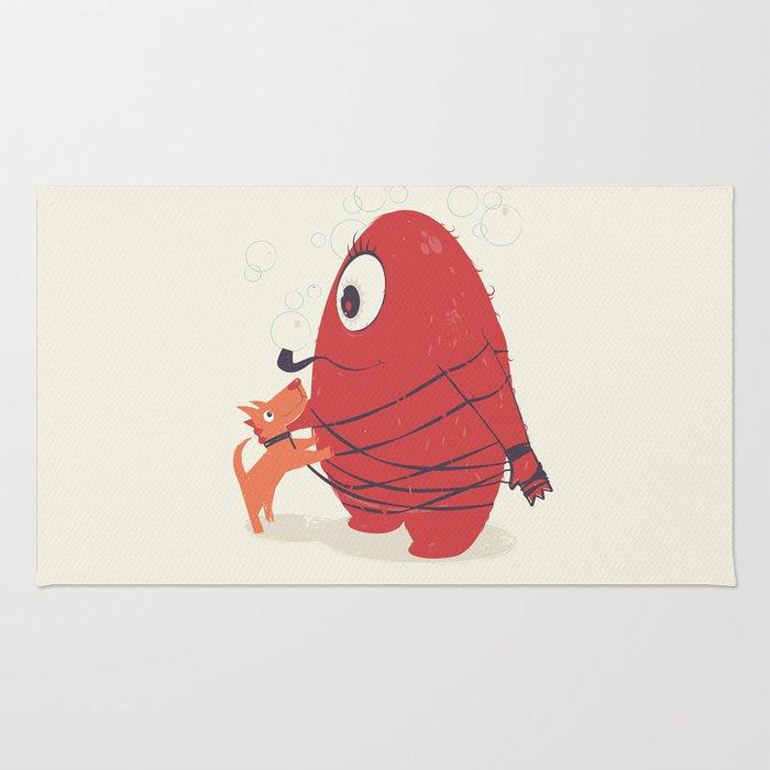 Cyclopes Monster Blob & Orange Dog Rug