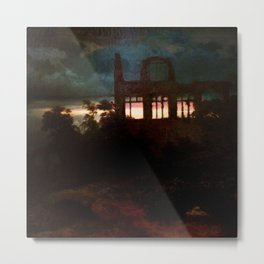 Landscape with castle ruins by Arnold Bocklin Metal Print