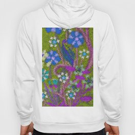 Starry Floral Felted Wool, Moss Green and Violet Hoody