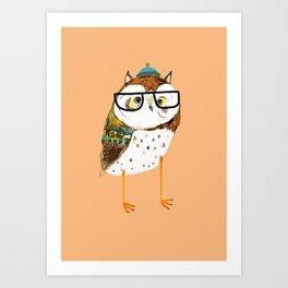 Owl Hipster Art Print