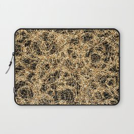 Gold Thread on Black | Abstract Brain Map 3 Laptop Sleeve