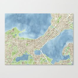 City Map Madison Wisconsin watercolor  Canvas Print