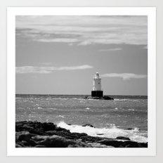 Sakonnet Point Lighthouse B&W Art Print