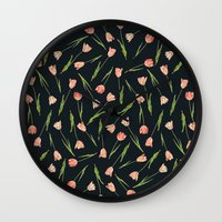 tulips Wall Clocks featuring Tulips by Heart of Hearts Designs