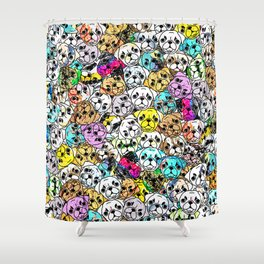 Gemstone Pugs Dogs Shower Curtain