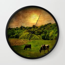 Cows in the Field Wall Clock