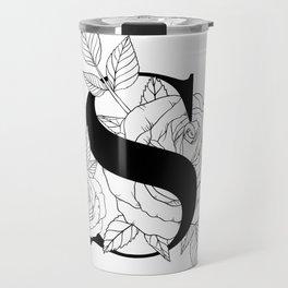Monogram Letter S with Rose Line Art  Travel Mug
