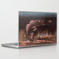 trout Laptop & iPad Skins featuring Trout Attack In Brown by Bill Holkham