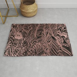 Bohemian black elegant rose gold aztec feathers Rug