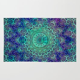 Aqua and Violet Mandala Lace Rug