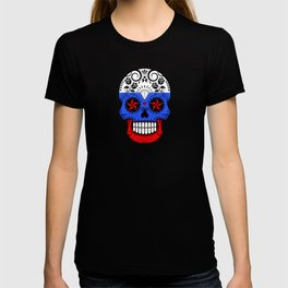 Sugar Skull with Roses and Flag of Russia T-shirt