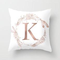 Letter K Rose Gold Pink Initial Monogram Throw Pillow