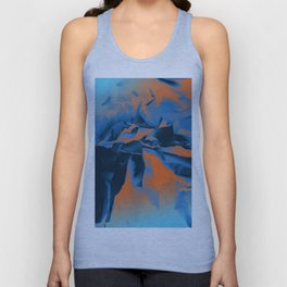 Between Worlds. Blue and Orange Abstract Landscape Unisex Tank Top