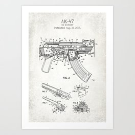 AK-47 old canvas poster Art Print