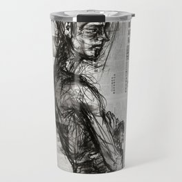 Waiting - Charcoal on Newspaper Figure Drawing Travel Mug