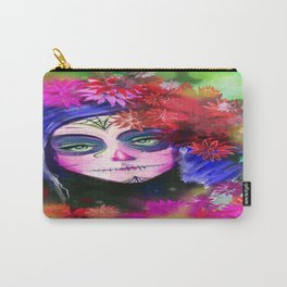 Day of the Dead Pink Flowers Carry-All Pouch