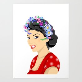 Beautiful woman with wreath Art Print