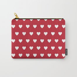 Polka Dot Hearts - red and white Carry-All Pouch