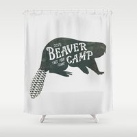 beaver Shower Curtains featuring Beaver Camp - Silhouette by Beaver Camp