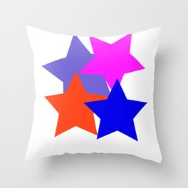 Kids 4 Stars Blue Pink Blue Grey Orange Stylish Design DBK4K Throw Pillow