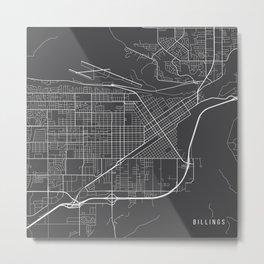 Billings Map, USA - Gray Metal Print