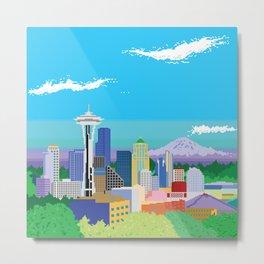 8-Bit Pixel Seattle Skyline Metal Print