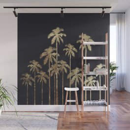 Glamorous Gold Tropical Palm Trees on Black Wall Mural