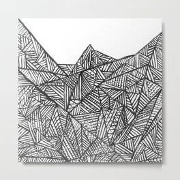 Textured black triangles zentangle pattern Metal Print