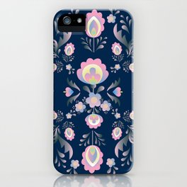 Folk Flowers in Pink and Indigo iPhone Case